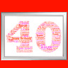 PERSONALISED BIRTHDAY GIFT 40 40th FORTY KEEP SAKE WORD ART FOR HIM HER