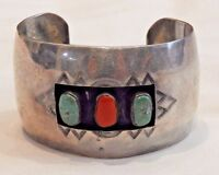 Vintage Sterling Silver with Turquoise and Coral Southwestern Cuff Bracelet