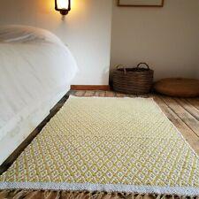 Large 180x245cm Reversible Mustard Ochre Ivory rug  Modern Cotton Diamonds rug