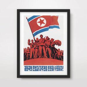 NORTH KOREAN KOREA PROPAGANDA POSTER Art Print Red Star Flag Pyongyang DPRK