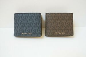 MICHAEL KORS MENS BILLFOLD WITH COIN POCKET MINI MK LOGO WALLET PVC MK SIGNATURE