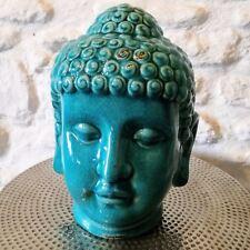 Buddha Head Ceramic Crackle Glaze Ornament Spiritual Gift Blue Green Turquoise