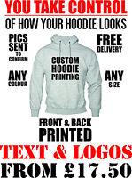 hoodie printing - custom design printwork personalised hoodies logos text style