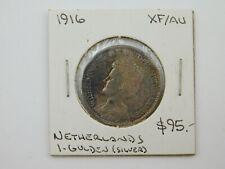 1916 Netherlands Silver 1 Gulden Coin XF/AU