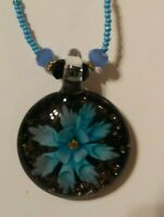 Vintage Mid Century Necklace Glass Flower Beads