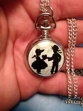 silver tone bot firl heart necklace pendant watch brother sisters