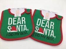 Lot Of 2 New Baby Christmas Bibs Santa I Did My Best