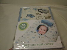 """NEW Little Me PUPPY PUPPIES DOG Cozy Car Seat Cover 19""""x18 ~ Blue, Brown, Ivory"""