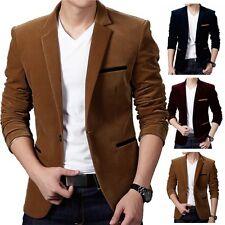 UK STOCK Men Casual Suit Blazer One Botton Slim Fit Formal Business Coat Jacket