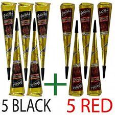 Golecha 5 Black And 5 Red Henna Mehandi Cone Temporary Tattoos Body Art Kit