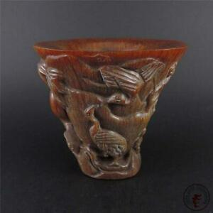 Rare Old Chinese Ox horn Horns carving Dynasty palace Tea cup Bowl statue