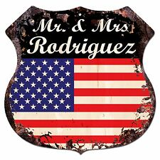 BPLU0009 America Flag MR. & MRS RODRIGUEZ Family Name Sign Home Decor Gift