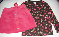 Gymboree Fall Homecoming brown floral top, pink skirt EUC & NWT 5 5T for autumn