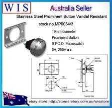 BULGIN-S/S Prominent Button Vandal Resistant,22mm,vandal resistant 5A-MP0034/3