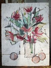 VINTAGE MIDCENTURY MODERN AMERICAN EXPRESSIONISM FLORAL PAINTING LISTED ARTIST