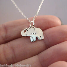 Elephant Charm Necklace - 925 Sterling Silver - Zoo Safari Animal Pendant NEW