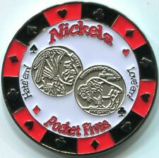 NICKELS - POCKET FIVES Poker Card Guard cover protector 55 pair of fives
