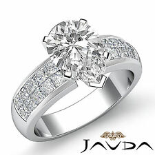 Invisible Set Pear Cut Diamond Ideal Engagement Ring GIA H VS2 Platinum 1.86 ct