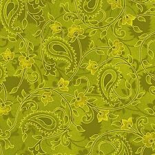 Fabric #2223, Green Autumn Paisley & Floral, Henry Glass, Sold by 1/2 Yard
