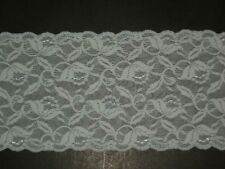 """Embroidered stretch lace trimming fabric scalloped 6""""wide light blue by the yard"""