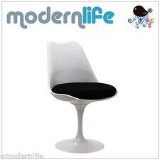 mid century modern saarinen style tulip side armless chair : black