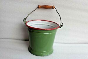 Old Vintage Iron Enamel Bucket Planter Enamelware Garden Pot Collectible BR-68