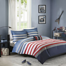 Modern Blue Red White Grey Stripe Boy Comforter Set & Pillow Twin Full Queen Szs