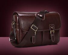 PU Leather Camera Bag Messenger Bag for DSLR EVIL Camera and Lens Drak Brown 063