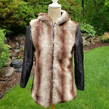 Reversible lightweight faux fur coat with hood for Burning Man small