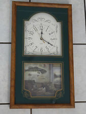 Ingraham Fish Framed Wall Clock Bass Cabin Theme for Man Cave or Cabin ~FAST S/H