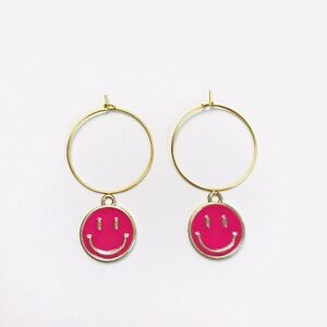 Gold Plated Hoop Charm Earrings Y2k Jewellery Pink Smiley Face Charm
