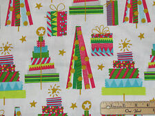 All Is Bright Washi Tape Trees Christmas Fabric by the 1/2 Yd #101.132.01.2