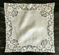 Antique Linen Brussels Point De Gaze Lace Floral Bridal Handkerchief Hankie