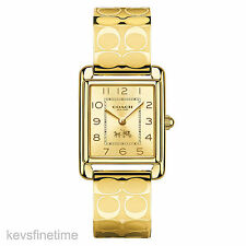 New in Box Coach Women Gold PAGE Signature C Bangle Bracelet Watch 14502160 $275