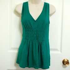 Deletta Sz M Emerald Green Sleeveless V Front and Back Smocked Top Cotton