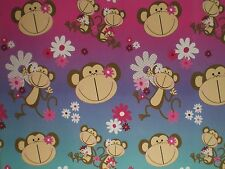 Pink / Purple / Blue Monkey Note Cards w/ Envelopes - Set of 6