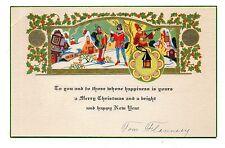 Vintage 1930's Christmas Greeting Card Medieval Carolers Fun Houses