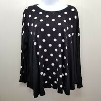 Comfy USA Small Black White Shirt Top Blouse Polka Dots Long Sleeve Lagenlook