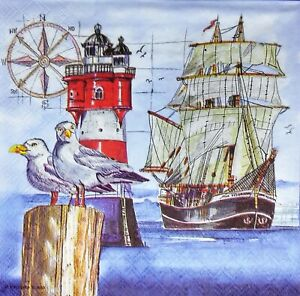 3 x Single Paper Napkins For Decoupage Sailboat Sea Ship Lighthouse Seagull M175