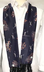 Mens Vintage Silk Style Fringed SCARF Retro Cravat Slim Necktie 70's Gents