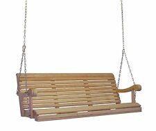 Home Outdoor 5Ft Cypress Lumber Roll Back Grandpa Porch Swing W Stainless Steel