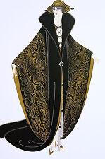 Erte 1982 - GOLDEN CLOAK - Lady in Opera Coat Fur Trim - Art Deco Print Matted