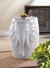 Contemporary White Ceramic Stool Sculpture Outdoor Garden Patio Yard Home Decor