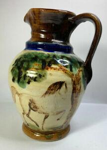 Majolica Antique Jag Vase Pitcher Horse Motif
