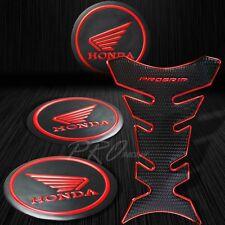 "ProGrip Black+Chromed Red Fuel Tank Pad+2"" 3D Honda Logo Fairing Emblem Sticker"