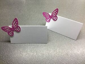 10 White Name Place Cards With A Bright Pink Glitter Butterfly