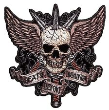 Large Death Before Dishonor Skull Swords Wings Embroidered Biker Patch Ship