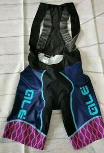 Ale PRS Women's Cycling Bibshorts, Black/Blue/Pink, Medium. ALE6