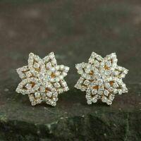 1.50 Ct Round Cut Diamond Cluster Flower Stud Earrings 14K Yellow Gold Finish