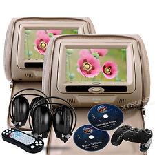 """Cream Beige Tan 2X 7"""" HD Car Video Pillow Headrest Monitor DVD Player Headphones"""